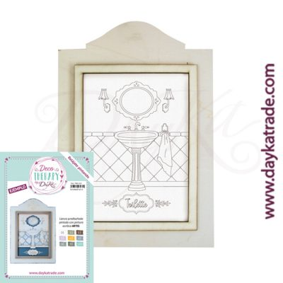 "Deco Therapy by Dayka for you to relax by painting. Pre-designed bathroom canvas with ""Toilette"" text in wooden frame and adhesive. Includes label with painted example and colours used for inspiration."