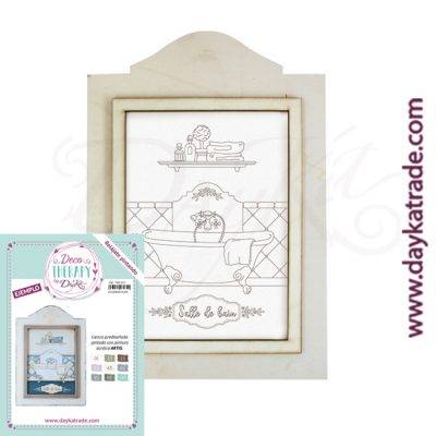 "Deco Therapy by Dayka for you to relax by painting. Pre-designed bath canvas with ""Salle de bain"" text in a wooden frame and adhesive. Includes label with painted example and colours used for inspiration."