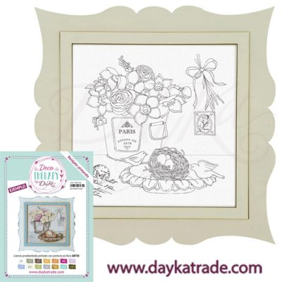 "Deco Therapy by Dayka for you to relax by painting. Pre-designed still life canvas with cube, nest and bow with text ""Paris"" with wooden frame and adhesive. Includes label with painted example and colors used to inspire you."