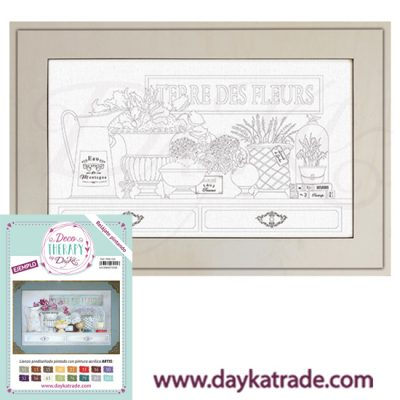 "Deco Therapy by Dayka for you to relax by painting. Pre-designed still life canvas with bowl, glass bell and ""Jacinthes"" text books with wooden frame and adhesive. Includes label with painted example and colours used for inspiration."
