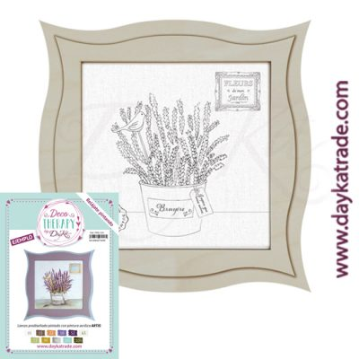 "Deco Therapy by Dayka for you to relax by painting. Pre-designed small still life canvas with the text ""bruyere"" with wooden frame and adhesive. Includes label with painted example and colours used for inspiration."