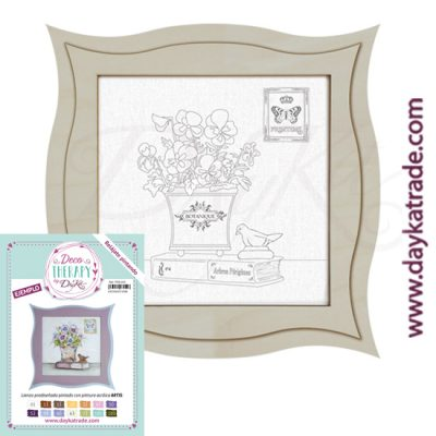 "Deco Therapy by Dayka for you to relax by painting. Pre-designed small still life canvas with pot, book and bird the text ""Botanique"" with wooden frame and adhesive. Includes label with painted example and colors used to inspire you."