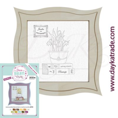 "Deco Therapy by Dayka for you to relax by painting. Pre-designed small still life canvas with pot, books and stamp with the text ""Jardin Botanique"" with wooden frame and adhesive. Includes label with painted example and colours used for inspiration."