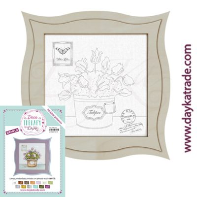 "Deco Therapy by Dayka for you to relax by painting. Pre-designed small still life canvas with tulip pot and stamp with the text ""Voler libre"" with wooden frame and adhesive. Includes label with painted example and colors used to inspire you."
