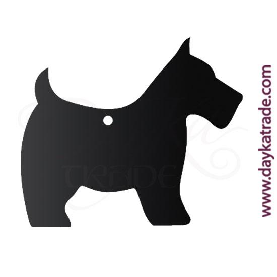 Pizarra con forma de perro con agujero para colgar. Para escribir con tiza o rotulador de pizarra.