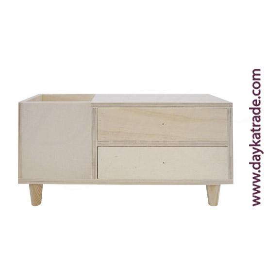 0431018 Caja 2 cajones un hueco, con patas en madera Dayka. Lista para decorar con pintura acrílica o Chalk Paint ARTIS. También se puede decorar con papeles para decoupage y otros productos Dayka.