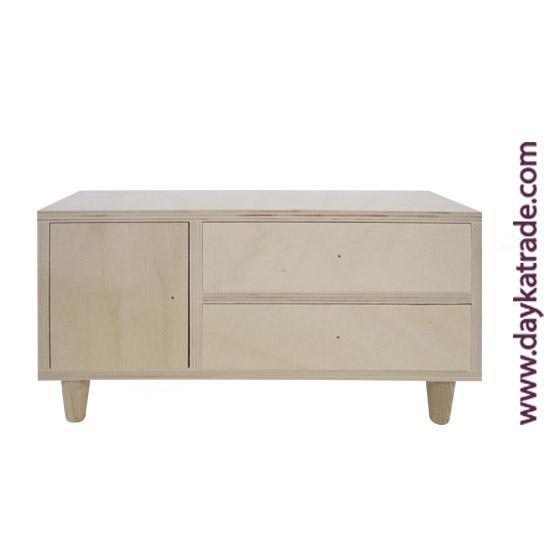 0431019 Caja 2 cajones y una puerta, con patas en madera Dayka. Lista para decorar con pintura acrílica o Chalk Paint ARTIS. También se puede decorar con papeles para decoupage y otros productos Dayka.