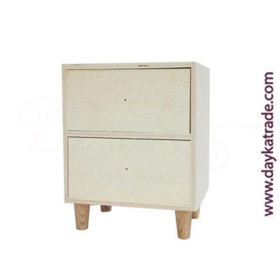 0431020 Caja 2 cajones y patas en madera Dayka. Lista para decorar con pintura acrílica o Chalk Paint ARTIS. También se puede decorar con papeles para decoupage y otros productos Dayka.