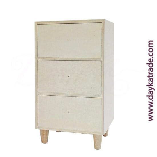 0431021 Caja 3 cajones y patas en madera Dayka. Lista para decorar con pintura acrílica o Chalk Paint ARTIS. También se puede decorar con papeles para decoupage y otros productos Dayka.