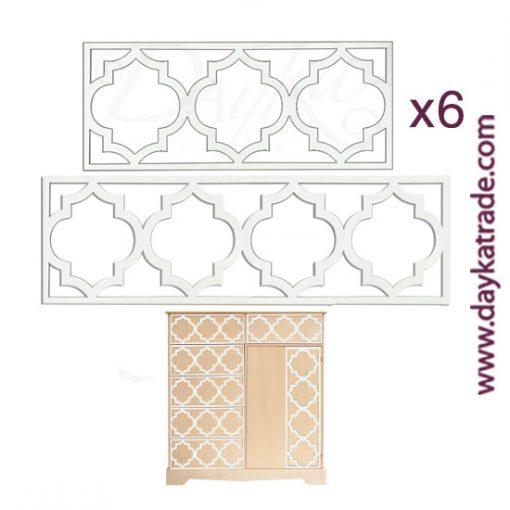 BLC-0446004Set de 7 apliques para mueble en tablero lacado Dayka. Están pensado para colocarlos en los cajones del mueble con referencia 0446004 como está indicado en la foto. Se pega en los cajones una vez pintado en mueble.