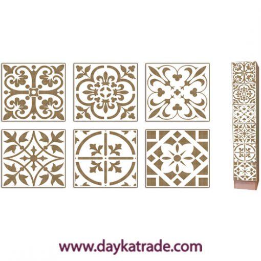 Set de 6 baldosas hidráulicas en tablero lacado Dayka. Está pensado para colocarlas en la cajonera de madera con referencia 04030180 como está indicado en la foto. Se decora con pinturas acrílicas o de Tiza ARTIS. Es muy fácil.