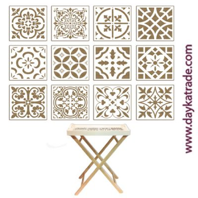 Set of 12 tiles in lacquered board from Dayka trade. Suitable for tray ref. 04030166