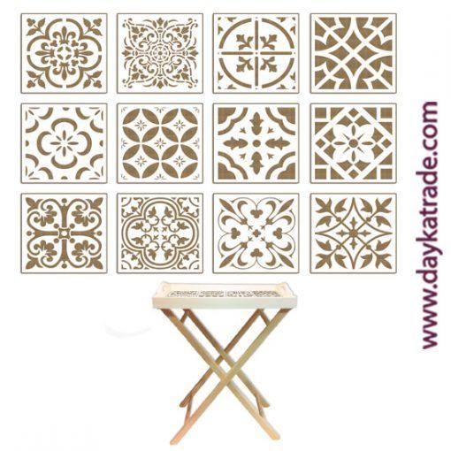 Set de 12 azulejos en tablero lacado de Dayka trade. Aptos para bandeja ref. 04030166