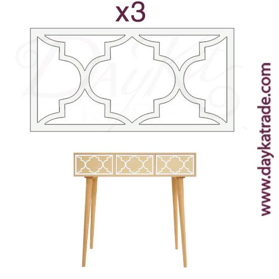 BLC-1628045 Set de 3 apliques para mueble en tablero lacado Dayka. Están pensado para colocarlos en los cajones del mueble con referencia 1628045 como está indicado en la foto. Se pega en los cajones una vez pintado en mueble.
