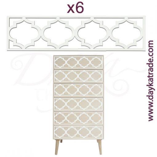 Set de 6 apliques para mueble en tablero lacado Dayka. Están pensado para colocarlos en los cajones del mueble con referencia 1628051 como está indicado en la foto. Se pega en los cajones una vez pintado en mueble.