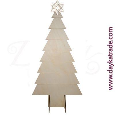 Abeto navideño con peana en madera de chopo con estrella en tablero lacado de Dayka. Decoración Navidad