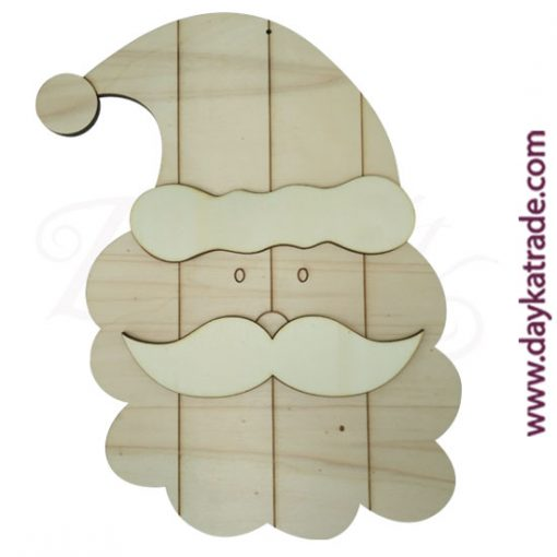 Striped Santa silhouette made of Dayka poplar wood. Christmas decoration