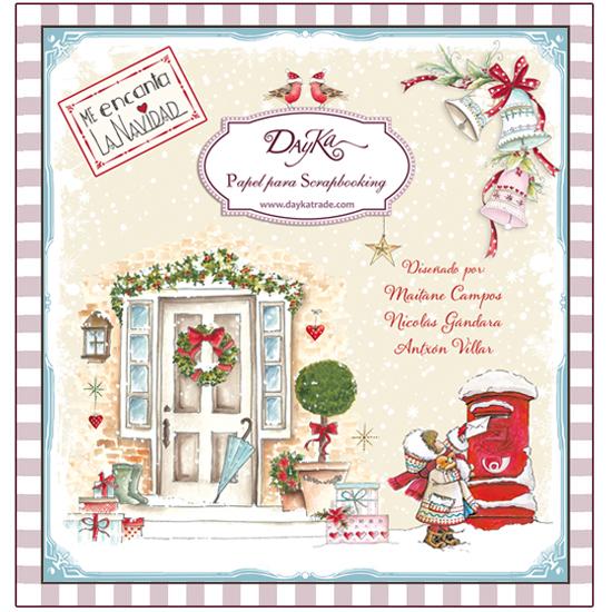 """Block de papeles para Scrapbooking Dayka """"Me encanta la Navidad"""", con 24 papeles de 20x20 cm aprox. (8 pulgadas), por las dos caras, 24 diseños. Diseñados y producidos en España."""
