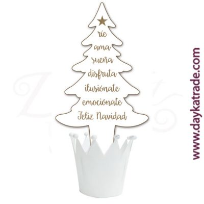 Fir tree with Christmas messages in lacquered board with Dayka white crown pot.