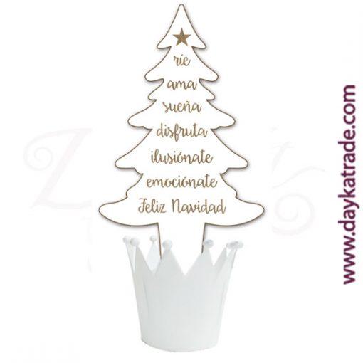 Abeto con mensajes navideños en tablero lacado con maceta corona de color blanco Dayka.
