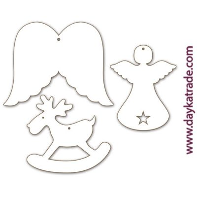 Trio of wings, angel and reindeer pendants in Dayka lacquered board.