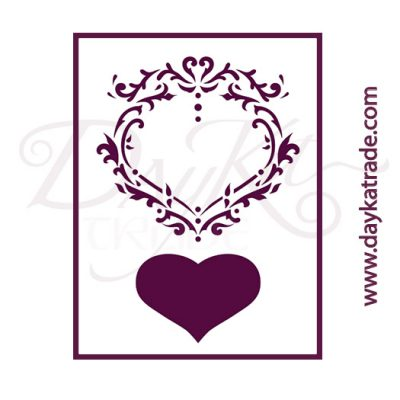 T-3322 Stencil A4 Dayka ORNAMENT WITH HEART