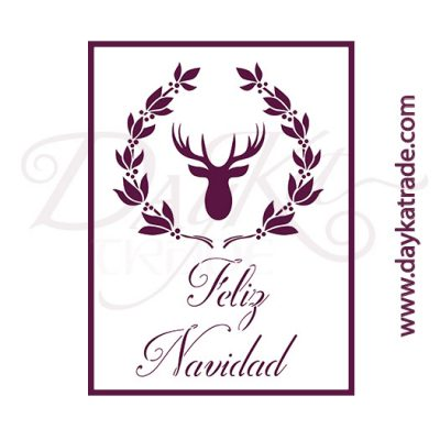 V-331 Stencil A5 Dayka DEER WITH FLOWERS - CHRISTMAS