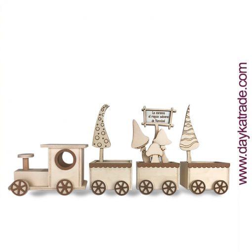 Tren de Navidad de madera con Setas - Feliz Navidad