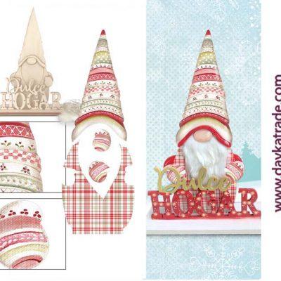 Decoración gnomo madera - Manualidades prediseñado Navidad Dayka Trade - Rojo